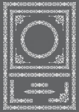 Conjunto de cuadros de �poca y elementos de dise�o en estilo retro Vectores