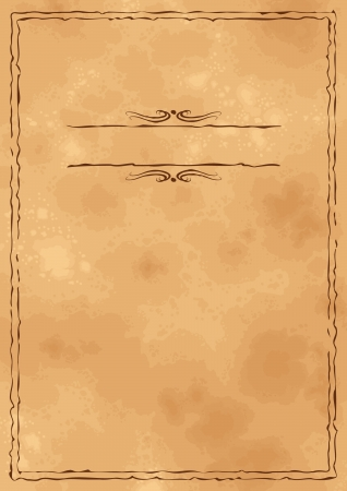 Grunge cosecha de fondo de papel viejo con la mano dibujada marco Vectores