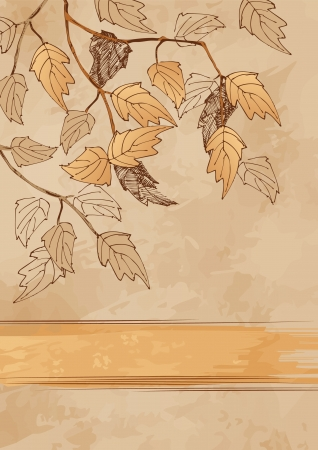 A sketch of the branches with autumn leaves on grunge background Illustration