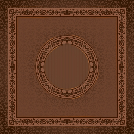 Vintage  square card on damask seamless background with a round frame in the center Vector