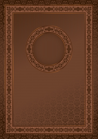 Vintage retro card on damask seamless background with a round frame in the center Vector