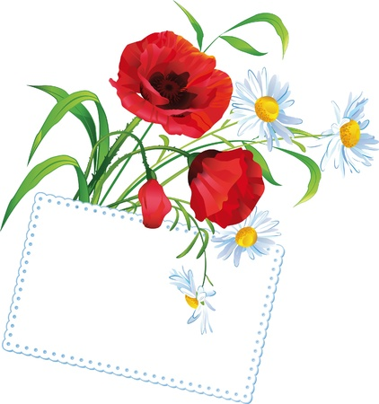 Colorful flower bouquet with greeting card and place for text Illustration