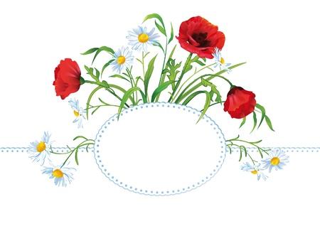 Tarjeta de felicitaci�n con ramo de flores de colores y lugar para el texto