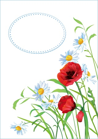 wildflowers: Greeting card with colorful flowers and place for text