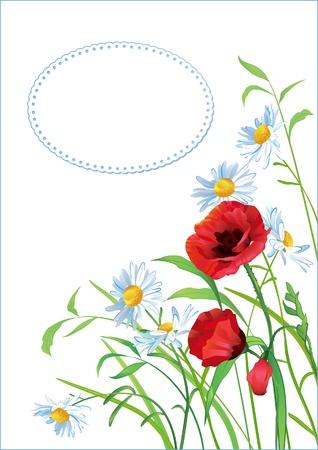 Tarjeta de felicitaci�n con flores de colores y lugar para el texto