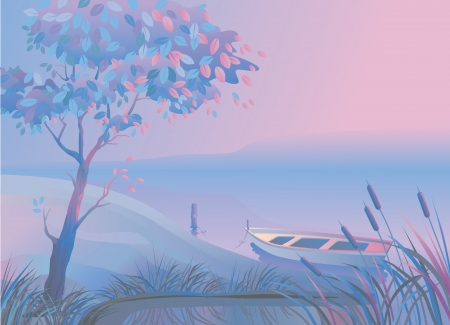 Morning or evening landscape with  a tree, a boat and bulrushes  Illustration