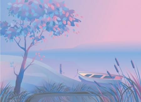 Por la mañana o por la noche paisaje con un árbol, un barco de juncos y