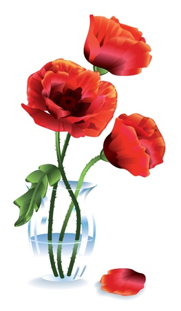 Silk red flowers  poppies  in a glass vase