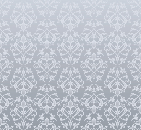 Seamless silver wallpaper  in  vintage style Vector