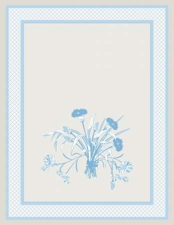 bluet: Blue background with the bouquet of  field flowers