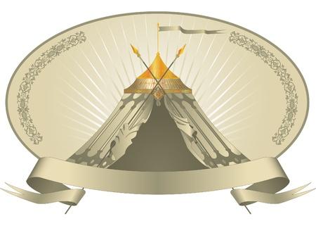 Emblema de la vendimia con una bandera y carpa carpa