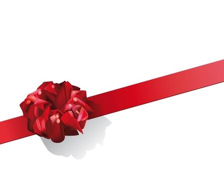 wrapped corner: Illustration of red gift bow on diagonal  Illustration