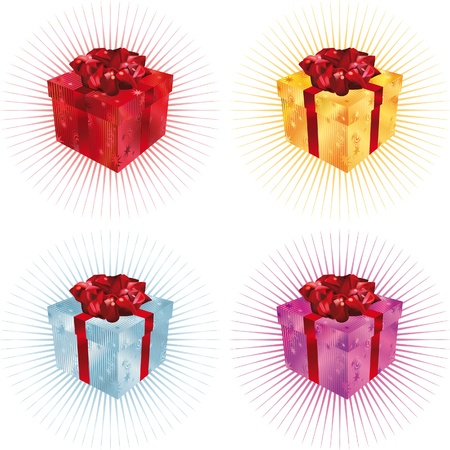 Gift Box in four color sets Illustration