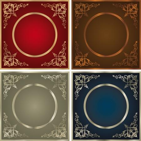 Vintage backgrounds set in four colour variations. Vector