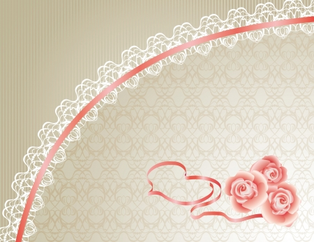 Lace Background with Heart and Roses Vector
