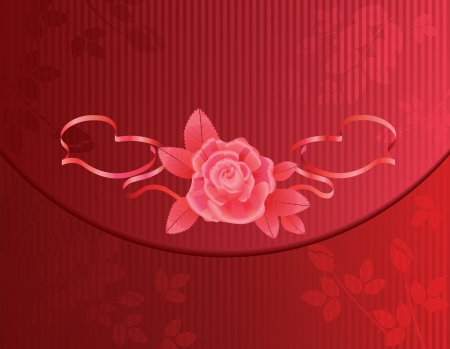 Red valentine background with rose and ribbon. Vector