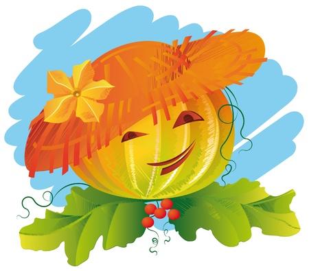 sombrero de paja: Sonriendo calabaza con sombrero de paja con una flor