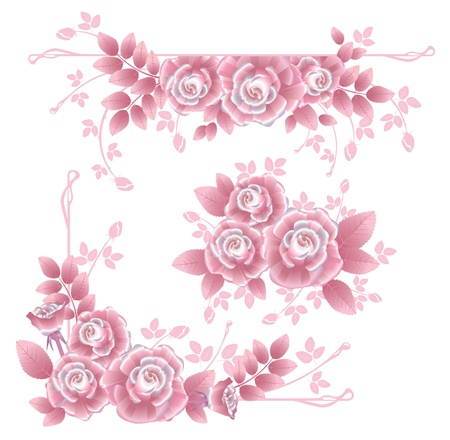 Set of separate design elements with pink silky roses  Corner, central and horizontal design elements