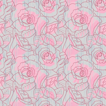 rose coloured: Grunge seamless floral pattern with roses  Illustration