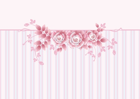 Tarjeta de felicitaci�n con la tarjeta GreStriped roseseting rosa con rosas de color rosa Vectores