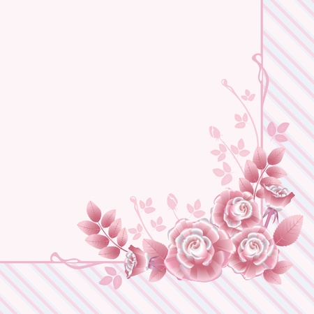 Floral greeting card with pink  retro roses Illustration