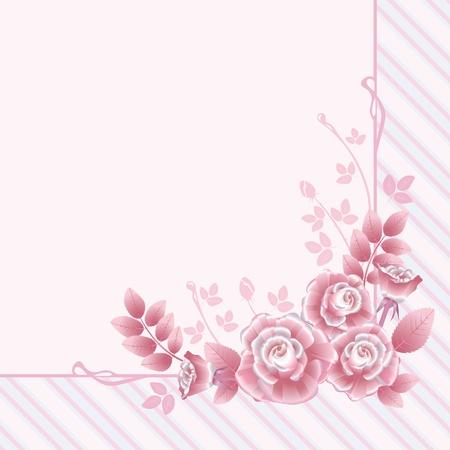 Tarjeta de felicitaci�n floral con rosas de color rosa retro
