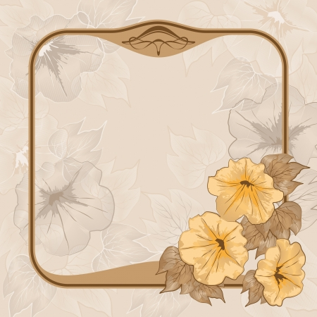 Ancient background with vintage frame and flowers Stock Vector - 15328336