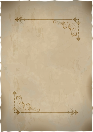 Old paper sheet  with vintage frame.  Vector