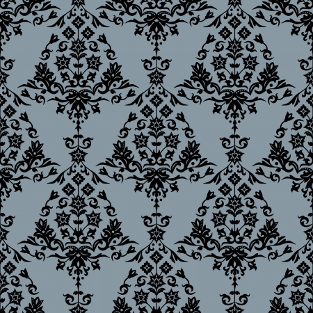 Background with seamless damask pattern in classic style. Vector illustration Stock Vector - 15408232