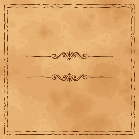 Grunge vintage old paper background with hand drawn frame. Perfect for invitations and announcements.