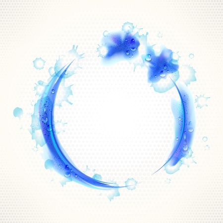 Watercolor abstract blue grunge background with round frame and drops.
