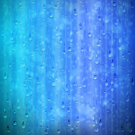 Blue rainy window background with drops and blur. The effects and raindrops will be seen on a background of different colors due to transparency and various blending modes.
