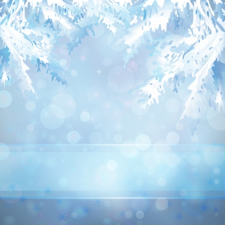 Merry Christmas and Happy New Year light blue bokeh background Vector