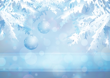 Christmas tree branches and glass balls on the Merry Christmas and Happy New Year blue background with blur lights Illustration