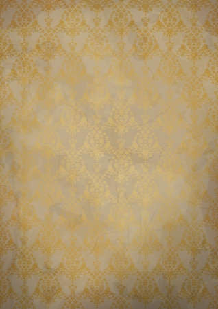 Vintage old paper background with gold seamless pattern Vector