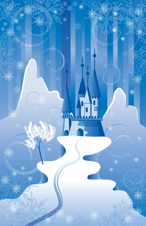Christmas scene with northern castle in the mountains  Vector