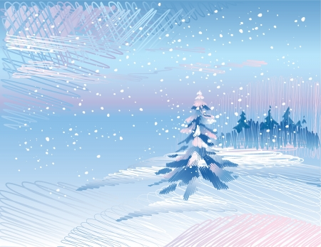 Winter landscape with fir tree forest under falling snow   Illustration