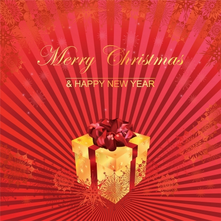 Christmas gift on red background  Merry Christmas and Happy New Year gold lettering