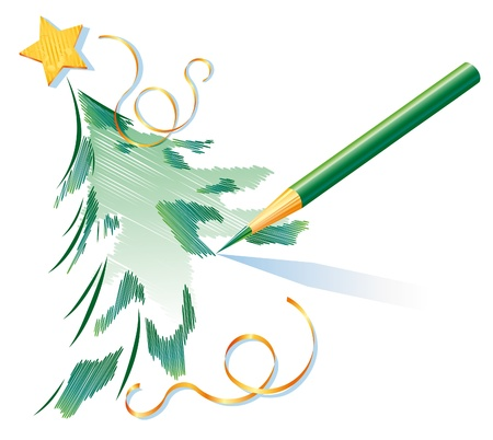 Christmas tree is being drawn by a green pencil Illustration