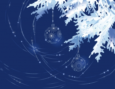spruce: Christmas tree branch with decoration balls on a dark blue background