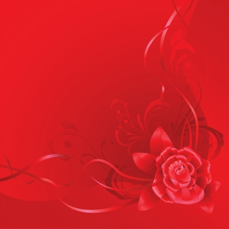 Red background with ribbons and rose, made of silk Vector