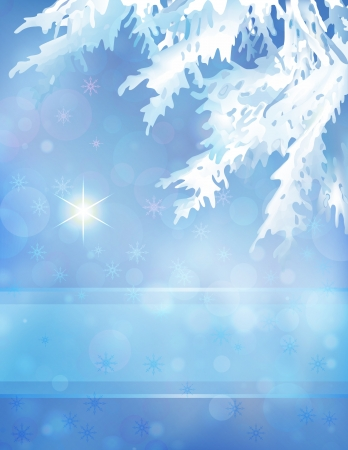 winter evening: Christmas tree branches, Christmas star and transparent ribbon on the blue bokeh background   illustration