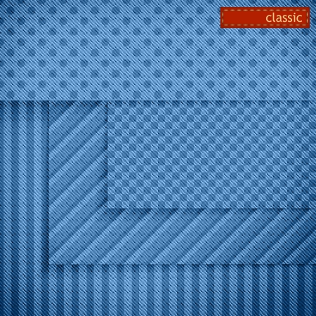 For website background design  Set of fabric blue banners or classic simple geometric seamless patterns with diagonal pixel texture and red label  Stripes, polka dots and checkerboard patterns   Vector