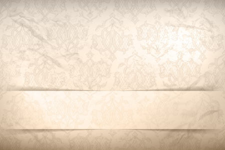 regal: Vintage wallpaper background with retro seamless pattern on the crumpled textured faded paper and the banner with shadow in shades of beige and gray Illustration