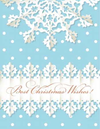 origami pattern:  Christmas origami snowflake and banner with greeting text on blue vector background with polka dot pattern