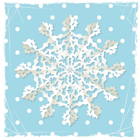 paper cut out: Christmas origami snowflake on blue grunge vector background with polka dot pattern