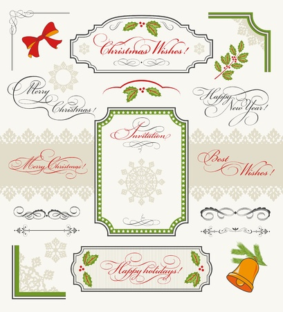 Christmas collection of Design Elements  set of calligraphic texts  Merry Christmas, Happy New Year, Happy Holidays, Best Wishes, Invitation , borders, frames, ornaments, decorations  Vector