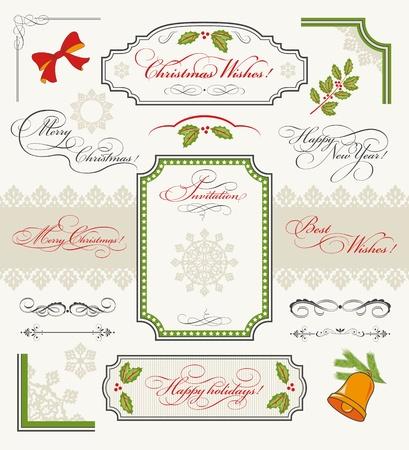 Navidad colecci�n de elementos de dise�o conjunto de textos caligr�ficos Feliz Navidad, Feliz A�o Nuevo, Feliz Navidad, mis mejores deseos, invitaci�n, bordes, marcos, adornos, decoraciones