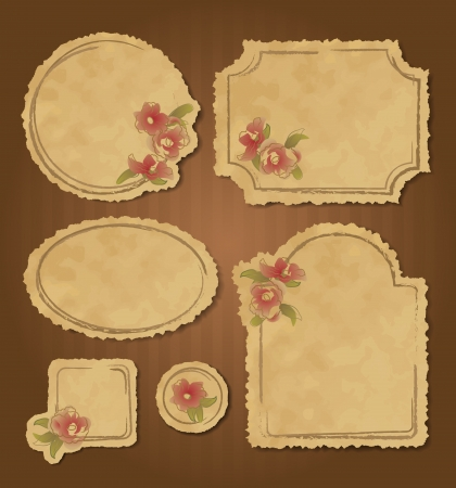 Set of retro floral vintage grunge frames and labels with torn edges. Scrapbook elements. Stock Vector - 17456421