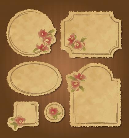 Set of retro floral vintage grunge frames and labels with torn edges. Scrapbook elements. Stock Vector - 17456421
